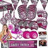Folat Partypaket 16 Sweet Sixteen pink 63-teilig für 8 Gäste Party Set Geburtstag