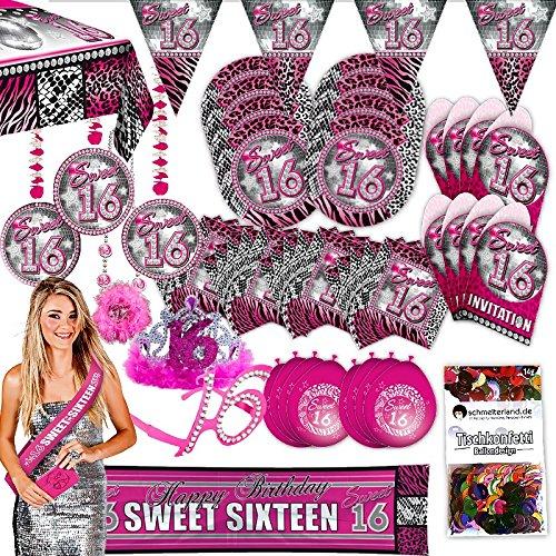 (Folat Partypaket 16 Sweet Sixteen pink 63-teilig für 8 Gäste Party Set Geburtstag)