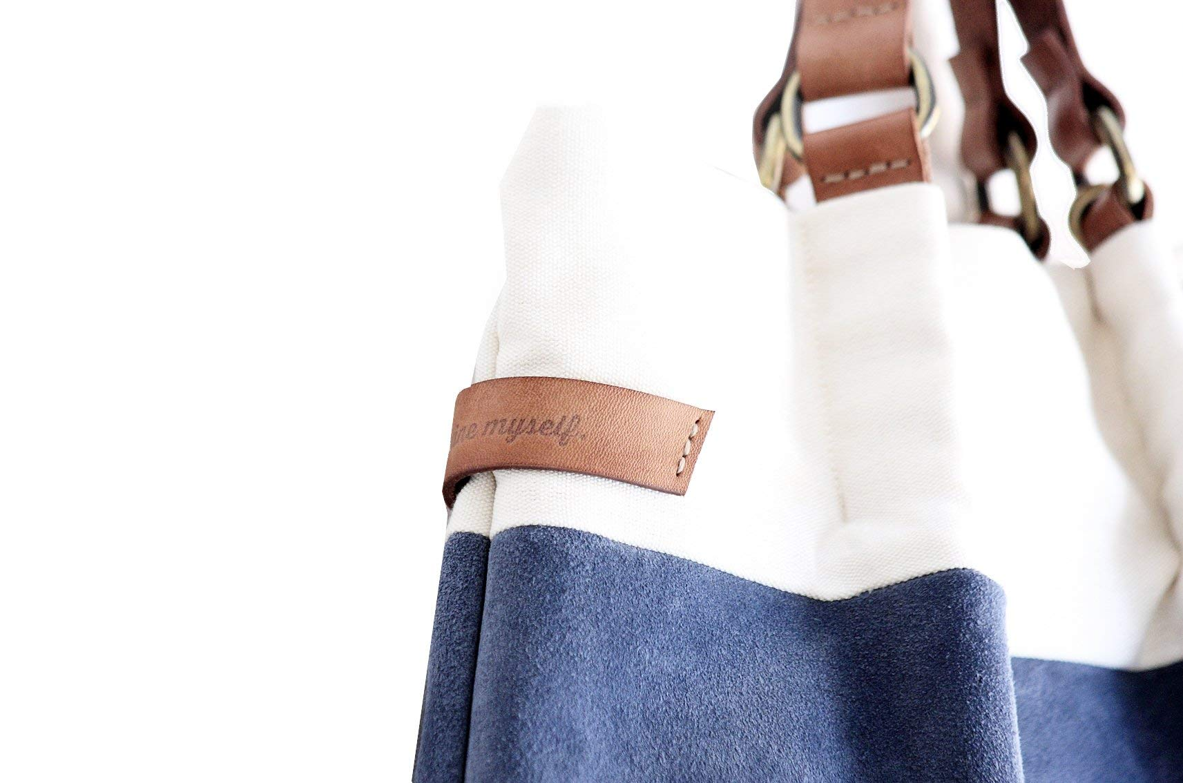 TOTE bag and HAND bag made of soft suede split leather, canvas and italian leather. Emma bag - handmade-bags