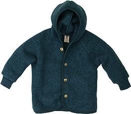 Engel Baby Fleece-Kapuzenjacke mit Holzknöpfen Bio-Schurwolle