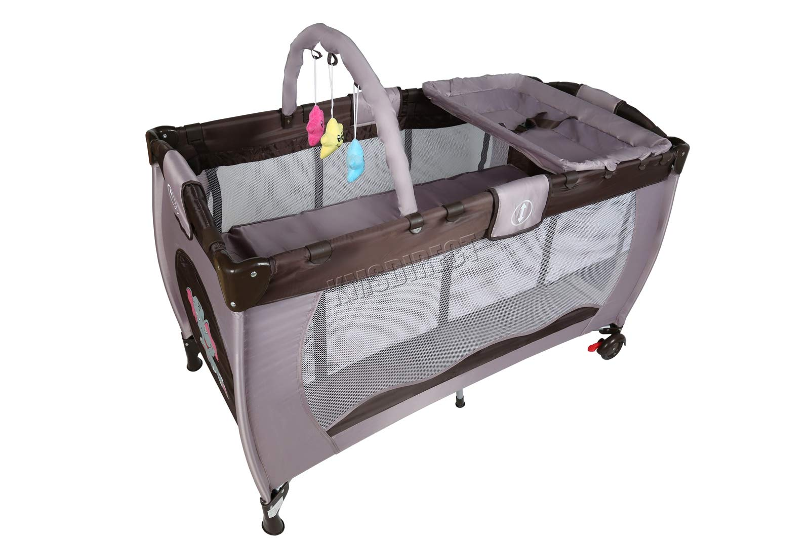 FoxHunter Portable Baby Cot Sleeping Bed Kids Infant Playpen Bassinet Child Play Pen with Entryway Travel BCB01 Coffee FoxHunter Travel cot easy to assemble and disassemble thanks to folding mechanism; igh quality and light weight; Fast and easy set-up, safe material and easy to clean; 4