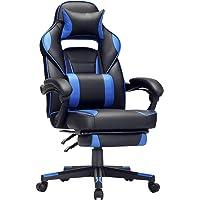 SONGMICS Gamingstuhl, Schreibtischstuhl mit Fußstütze, Bürostuhl mit Kopfstütze und Lendenkissen, höhenverstellbar…