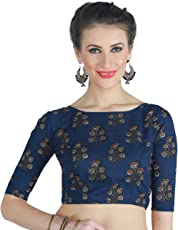 STUDIO SHRINGAAR LATEST COTTON BLUE JAIPURI BLOCK PRINTED WOMENS SAREE BLOUSE WITH BOAT NECK AND ELBOW LENGTH SLEEVES.