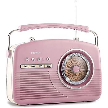 OneConcept NR-12 radio de cuisine style américain 50's (affichage circulaire de la fréquence AM, FM et LW, poignée ergonomique, antenne télescopique) - rose