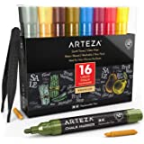 Arteza Rotuladores de tiza líquida   Set de 16 Colores pastel   Puntas recambiables   Pinzas, 50 etiquetas y 2 plantillas   R