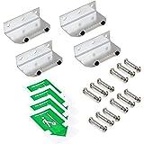 Emuca - Meccanismo apriporta senza contatto a pedale, soluzione a mani libere per apertura porte, acciaio inossidabile, 4 un.