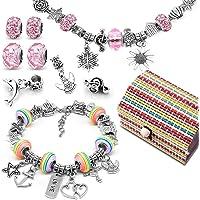Loisirs Creatifs Cadeau Fille 8 à 12 ans, Kit de fabrication de bracelet avec Pendentifs Charme Chaînes Perles Plaqué…