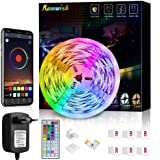 Striscia LED 5M, Romwish Luci LED Colorate RGB SMD 5050 Bluetooth Musica Sync LED Strip Controllo App e 44 Tasti Telecomando