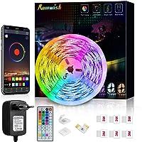 Striscia LED 5M, Romwish Luci LED Colorate RGB SMD 5050 Bluetooth Musica Sync LED Strip Controllo App e 44 Tasti…