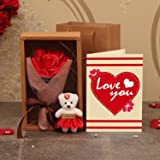 TIED RIBBONS Artificial Rose Flowers, Teddy with Message, Carry Bag and Greeting Card (Multicolour, 1 Bouquet, 1 Teddy with M