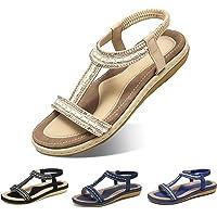 Camfosy Sandales Femmes Plates Été, Chaussures Été Nu Pieds Claquette Plage à Talon Plat Semelle Compensée Confortable…