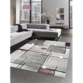 Modern Tapis Poil Ras Tapis de Salon résumé Karo Noir Gris Blanc ...