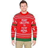 Merry Christmas Ya Filthy Animal Snowflake And Reindeer Adult Jumper Ugly Sweater