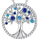 GinoMay Collana Albero della Vita per Donna Regali di Compleanno Collana Zaffiro Blu Topazio Smeraldo Perla Rubino Argento 92