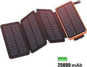 FEELLE 25000mAh Solar Power Bank, Solar Ladegerät with 4 Solarzellen Wasserdicht Externer Akku Battery Pack mit Lighting für iPhone, iPad, Samsung, Huawei und Andere Geräte