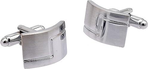 Zephyrr Fashion Silver Plated Cufflinks for Men Matt Finish Curved Rectangular
