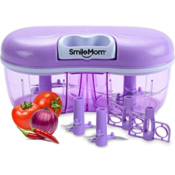 Smile Mom Twin Vegetable Chopper, Cutter, Mixer Set for Kitchen, 4 Interchangeable Blade, Violet (1500 ML)