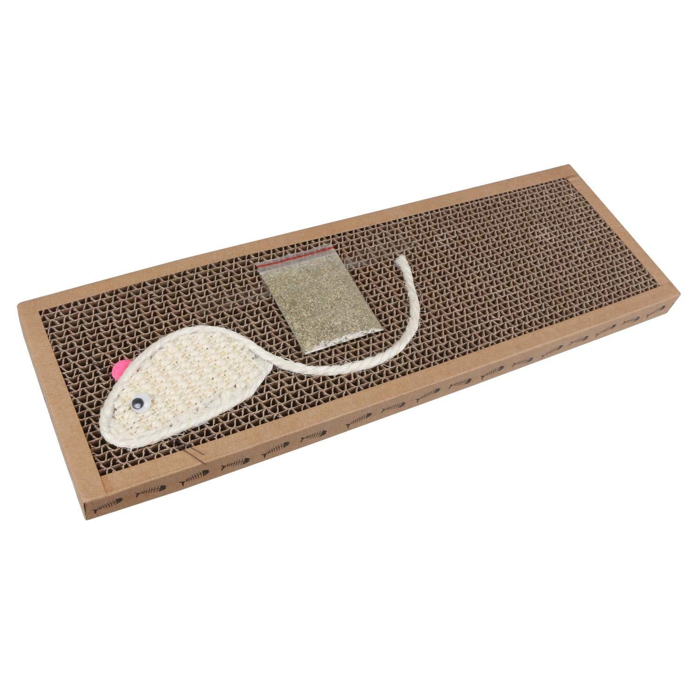 Nobleza – Rascador de cartón para Gatos. Alfombrilla con Catnip. 38cm * 12.5cm * 1.8cm