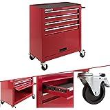 Arebos Werkplaatswagen 4 vakken + groot vak | met antislipmatten | 2 wielen met parkeerrem | rood |