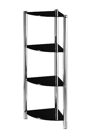 premier housewares 4 tier corner shelf unit with black glass shelves and chrome frame amazoncouk kitchen u0026 home