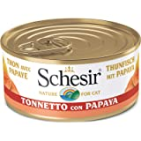 Schesir, Comida húmeda para Gatos Adultos, Sabor bacoreta con Papaya en gelatina Blanda con Verdaderos trozos de Fruta - Tota