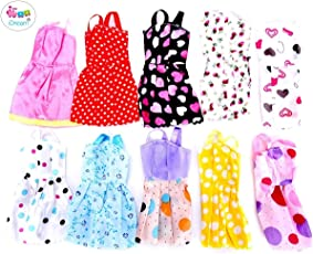 IDream Handmade Party Dress Fashion Clothes for Barbie Doll Play House (10 Pieces)