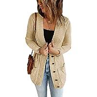 Aleumdr Cardigan Donna Lungo Maglione Donna Invernale Elegante Sweater Woman Due Tache Anteriore Aperto con Tasca