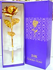 rks global Golden Rose Flower 24 K Special Gift for Valentines, Love Ones, Birthday with Box and Carry Bag(Golden, 1)
