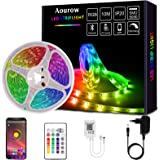 Aourow Tira de LED de 10m,Tiras de LED Bluetooth RGB con Control de APP y Control Remoto de 24 Botones,Sincronización con Mús