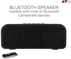 AVG Technology P1 Wireless Portable Bluetooth Speaker, Battery Duration, FM, USB, AUX, Micro SD Card Reader for Samsung Galaxy S8 Lenovo (Black)