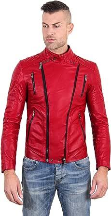D'Arienzo - Chiodo in Pelle Rossa Uomo Trapuntato Made in Italy Vera Pelle Giacca Giubbotto Giubbino Moto