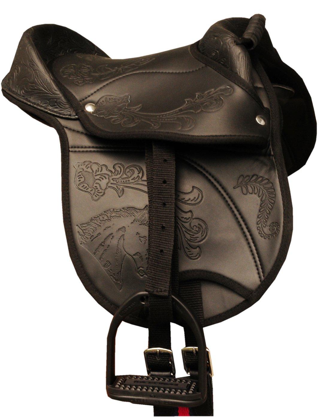 Amesbichler AMKA Reitkissen Nevio Pony-SHETTY Sattel 10″ komplettes Set mit Riemen, Gurt und Steigbügel auch für Holzpferde geeignet SCHWARZ