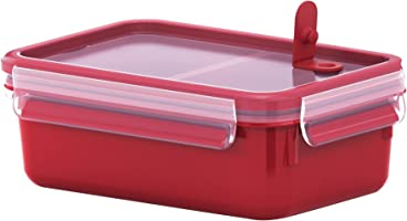 Tefal Master seal Micro Box Food Container, Plastic 1.0Litre With Inserts - K3102312, Red Color
