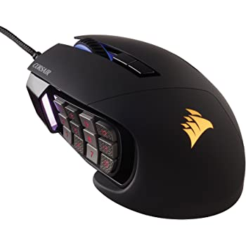 Corsair Scimitar Pro RGB Optical MMO Gaming Mouse (16,000 DPI Optical Sensor, 12 Programmable Side Buttons, 4-Zone RGB Multicolour Lighting, On-board Storage) - Black