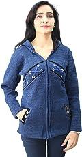 Matelco Women's Blue Woollen Zipper Cardigan with Velvet Collars