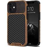 TENDLIN Funda iPhone 12 Mini Madera con Carbono y Cuero Híbrido Carcasa Compatible con iPhone 12 Mini (Negro)