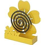 Baroni Home Support de résistances anti-moustiques en métal fleur jaune, pour l'intérieur ou l'extérieur, 14 x 5 x 19 cm