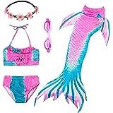 PTHTECHUS 3PCS Conjunto de Bikini de Sirena niñas Traje de Baño de la Cola con Guirnalda y Gafas de natación