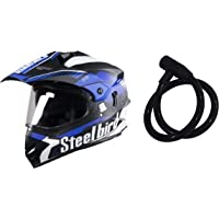 Steelbird SB-42 Airborne Glossy Black with Blue with Plain Visor with P.Cap,600 mm & SteelBird Cable Lock for Helmet…