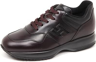 Hogan E4994 Sneaker Uomo Bordeaux/Nero Interactive Scarpe Sfumata Shoe Man