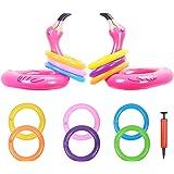 KATOOM 2 st uppblåsbar ring kast-spel, uppblåsbar hatt pool party dekoration med 12 st ringar för barn och vuxna familjefest