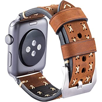MroTech Cinturino Apple Watch 42mm, iWatch Serie 3 Serie 2 Serie 1 Cinturini di Ricambio in Vera Pelle Orologi da Polso Cinghietta per Apple Watch Sport Edition Nike+ (42 mm, Marron)