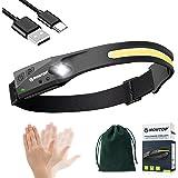 Stirnlampe LED Wiederaufladbar, Intelligenter Sensor Kopflampe COB&XPE Superhell 230 °Flutlicht&Scheinwerfer mit 5 Lichtmodi,