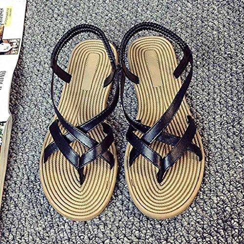 Xmansky Frau Sommer Böhmische Sandalen Mode Gemütlich Schwarz