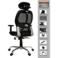 SAVYA HOME APEX Chairs Apollo Chrome Base High Back Office Chair Adjustable Arms (Black)