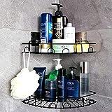 Laimew Lot de 2 paniers de douche avec crochets sans perçage pour salle de bain, cuisine, noir