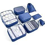 AMAYGA 8pcs Organisateur de Bagage de Sac Voyage Emballage Cubes Rangement pour Vêtement sous-Vêtement Chaussures Cosmétique