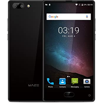 """MAZE Alpha Smartphone, 6.0"""" FHD Display Android 7.0 4G, MTK6757 Octa-Core 2.5GHz, 4GB RAM + 64GB ROM, Dual Rear Camera 13.0MP+5.0MP, Dual Sim, Fingerprint Recognition, GPS/OTG Cellulare - Nero"""