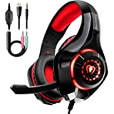 Auriculares Gaming Premium Stereo con Microfono para PS4 PC Xbox One, Cascos Gaming con Bass Surround Cancelacion Ruido, Diad