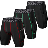 ZENGVEE Men's 3 Pack Compression Shorts Cool Dry Running Base Layer Shorts with Phone Pockets for Running,Training…